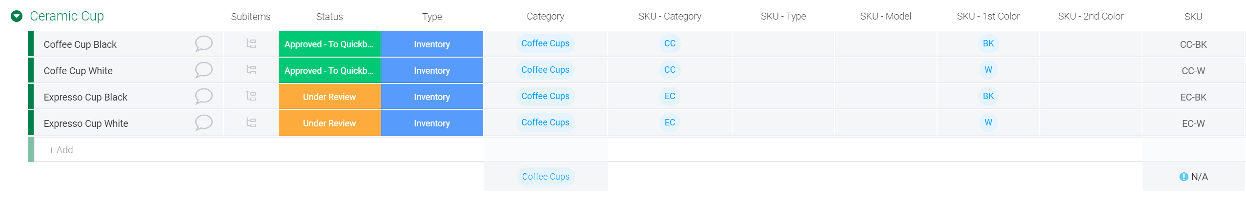 How to create a product catalogue and SKUs in monday.com - SKUs