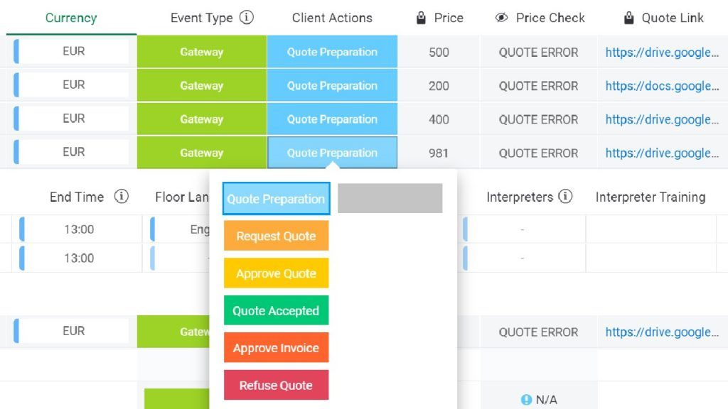 Boards - Clients actions and Price check